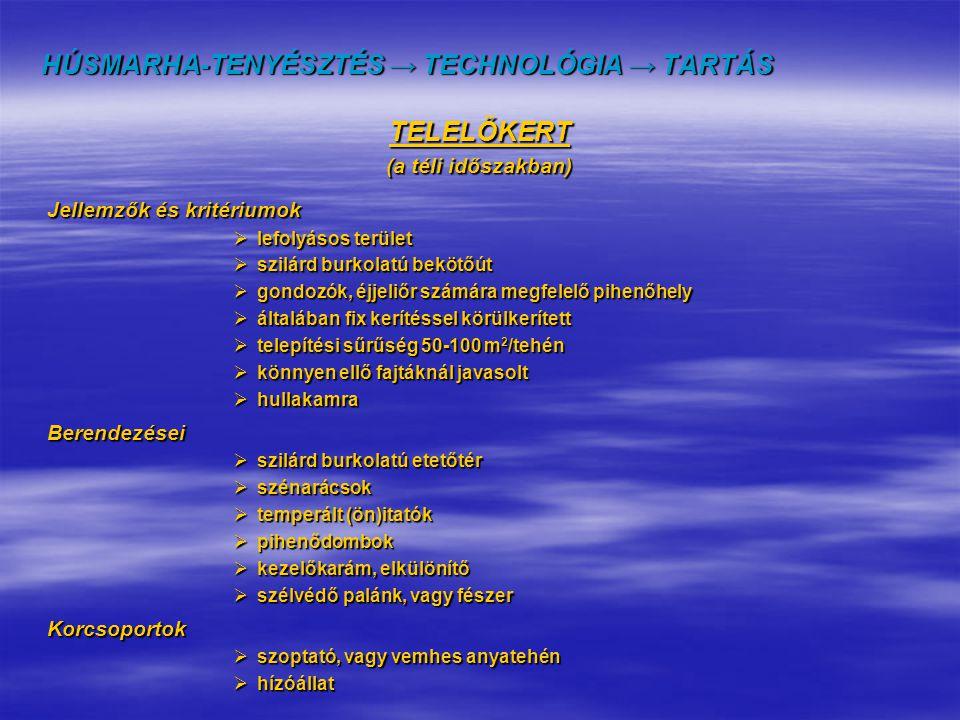 HÚSMARHA-TENYÉSZTÉS → TECHNOLÓGIA → TARTÁS TELELŐKERT (a téli időszakban) Jellemzők és kritériumok Jellemzők és kritériumok  lefolyásos terület  szi