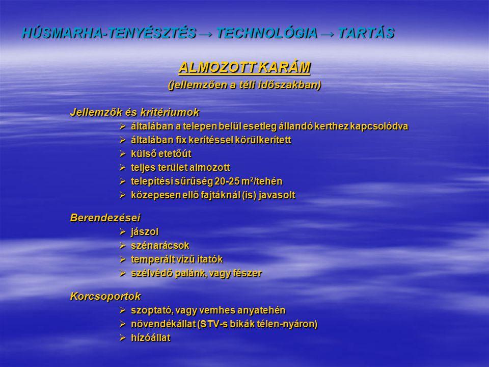 HÚSMARHA-TENYÉSZTÉS → TECHNOLÓGIA → TARTÁS ALMOZOTT KARÁM (jellemzően a téli időszakban) Jellemzők és kritériumok  általában a telepen belül esetleg