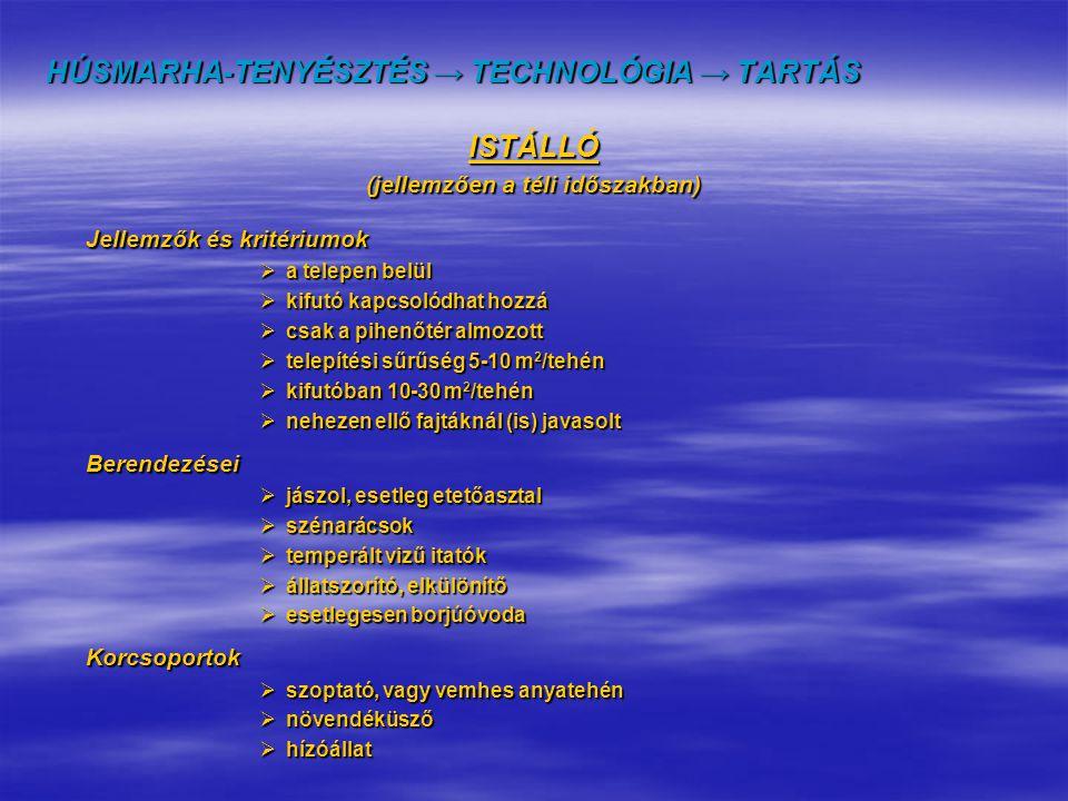 HÚSMARHA-TENYÉSZTÉS → TECHNOLÓGIA → TARTÁS ISTÁLLÓ (jellemzően a téli időszakban) Jellemzők és kritériumok  a telepen belül  kifutó kapcsolódhat hoz
