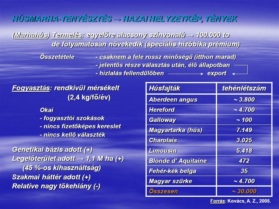 HÚSMARHA-TENYÉSZTÉS → HAZAI HELYZETKÉP, TÉNYEK (Marhahús) Termelés: egyelőre alacsony színvonalú → 100.000 to de folyamatosan növekedik (speciális híz