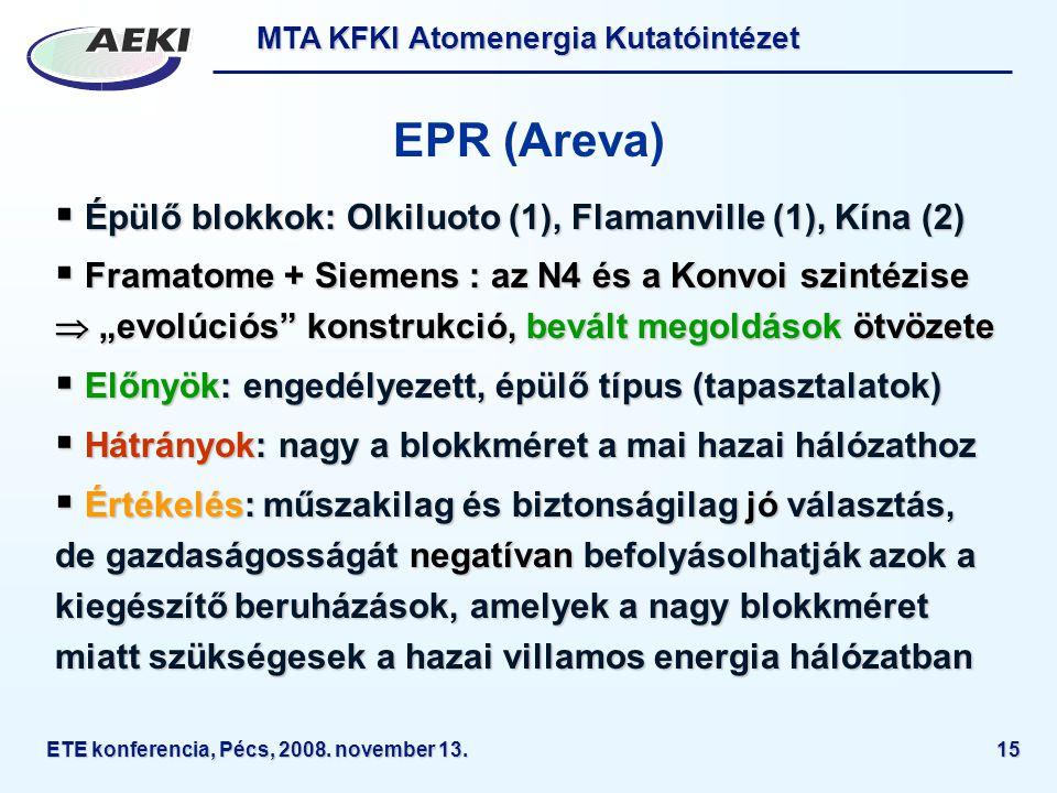 MTA KFKI Atomenergia Kutatóintézet ETE konferencia, Pécs, 2008.