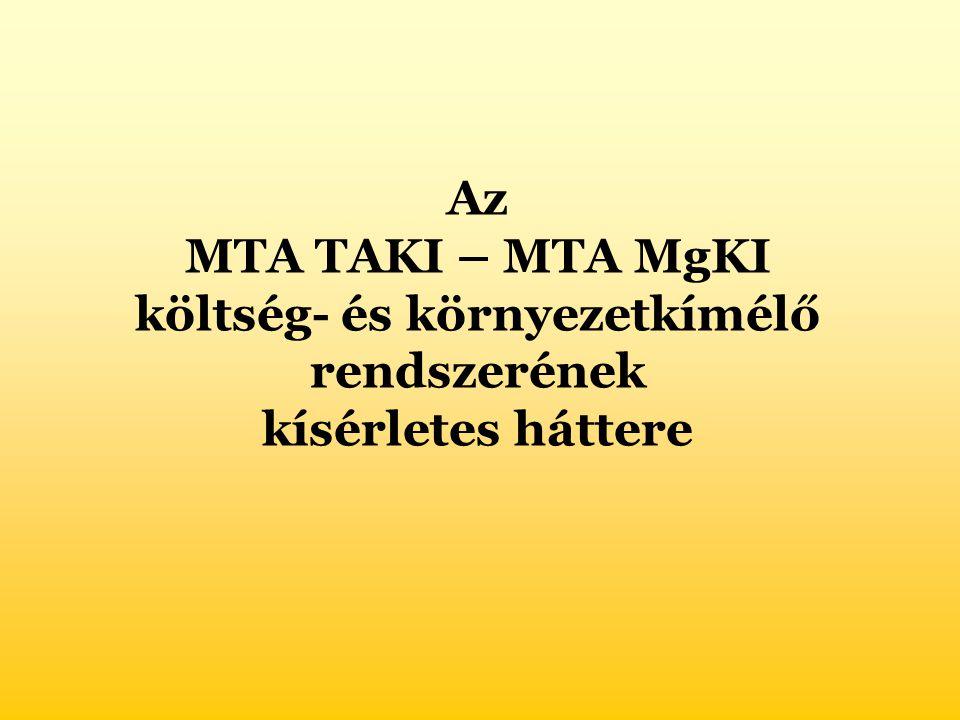 Az MTA TAKI – MTA MgKI költség- és környezetkímélő rendszerének kísérletes háttere