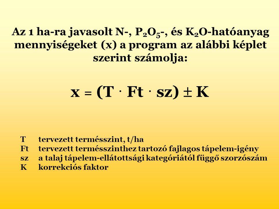 Az 1 ha-ra javasolt N-, P 2 O 5 -, és K 2 O-hatóanyag mennyiségeket (x) a program az alábbi képlet szerint számolja: x = (T ˙ Ft ˙ sz)  K Ttervezett termésszint, t/ha Fttervezett termésszinthez tartozó fajlagos tápelem-igény sza talaj tápelem-ellátottsági kategóriától függő szorzószám K korrekciós faktor