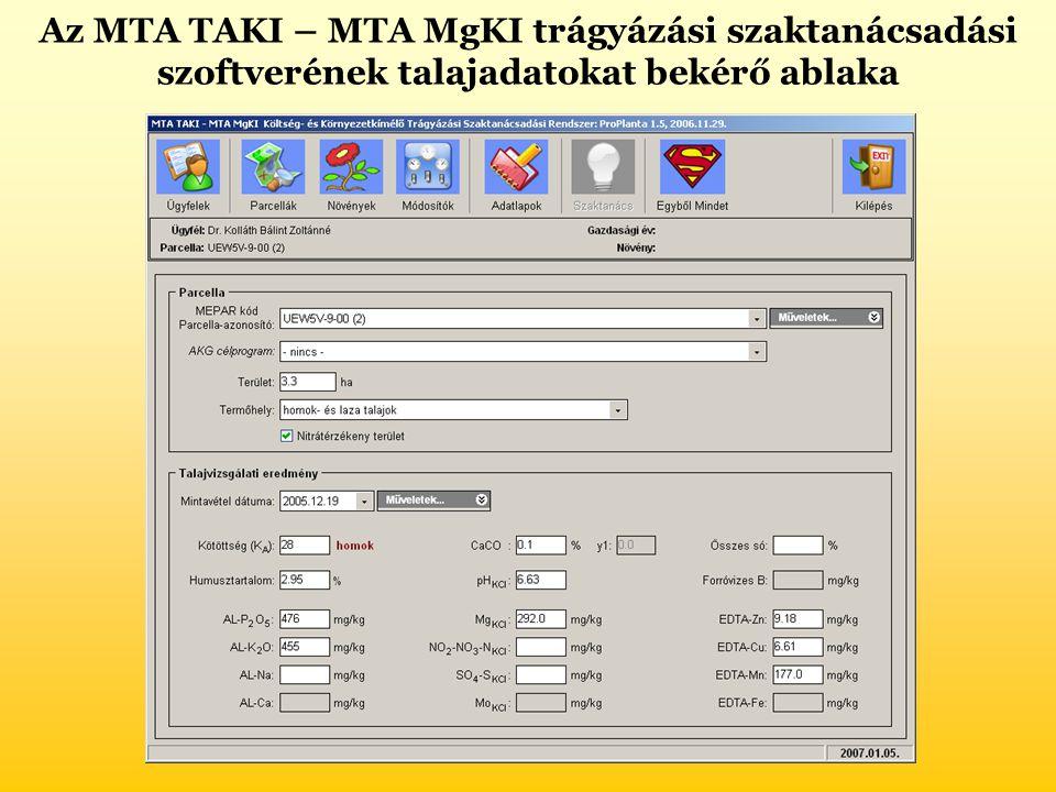 Az MTA TAKI – MTA MgKI trágyázási szaktanácsadási szoftverének talajadatokat bekérő ablaka