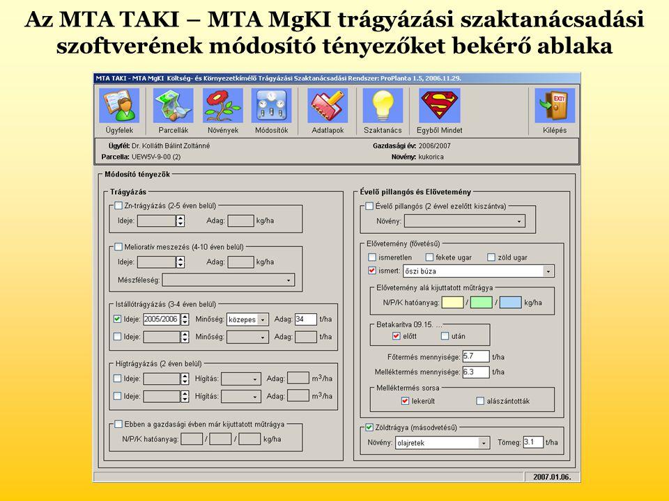 Az MTA TAKI – MTA MgKI trágyázási szaktanácsadási szoftverének módosító tényezőket bekérő ablaka