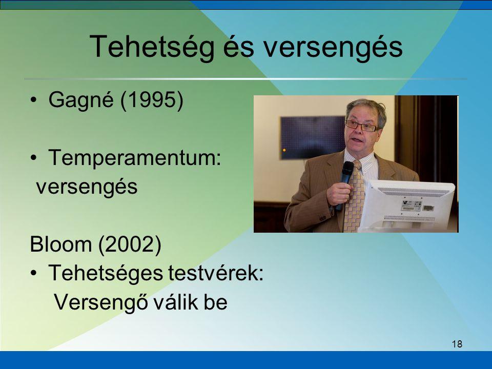 18 Tehetség és versengés Gagné (1995) Temperamentum: versengés Bloom (2002) Tehetséges testvérek: Versengő válik be
