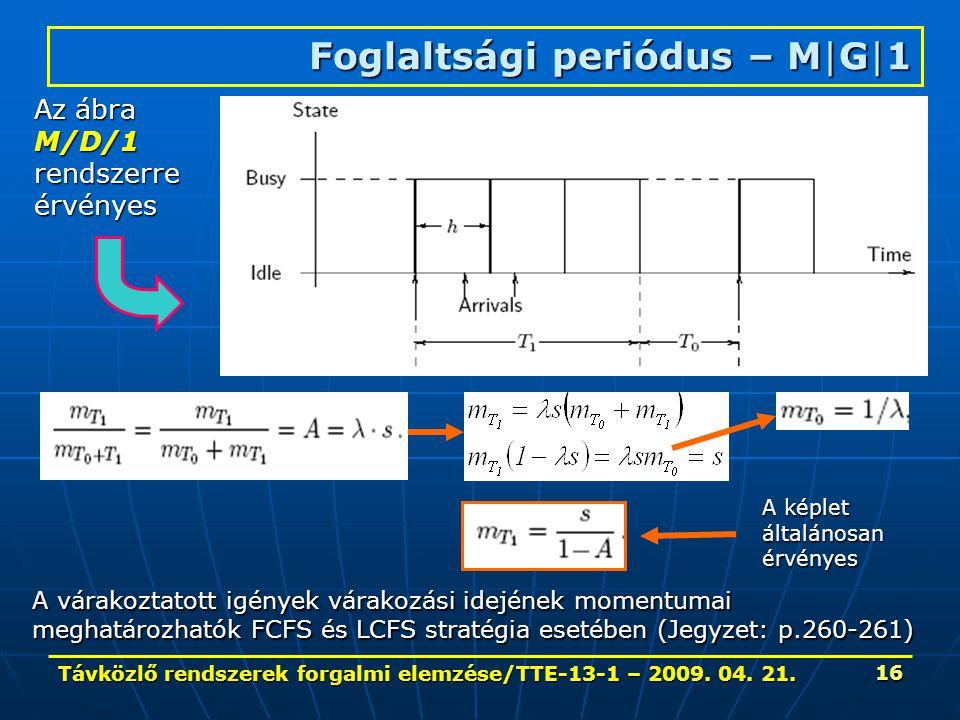 Távközlő rendszerek forgalmi elemzése/TTE-13-1 – 2009. 04. 21. 16 Foglaltsági periódus – M|G|1 Az ábra M/D/1rendszerreérvényes A várakoztatott igények