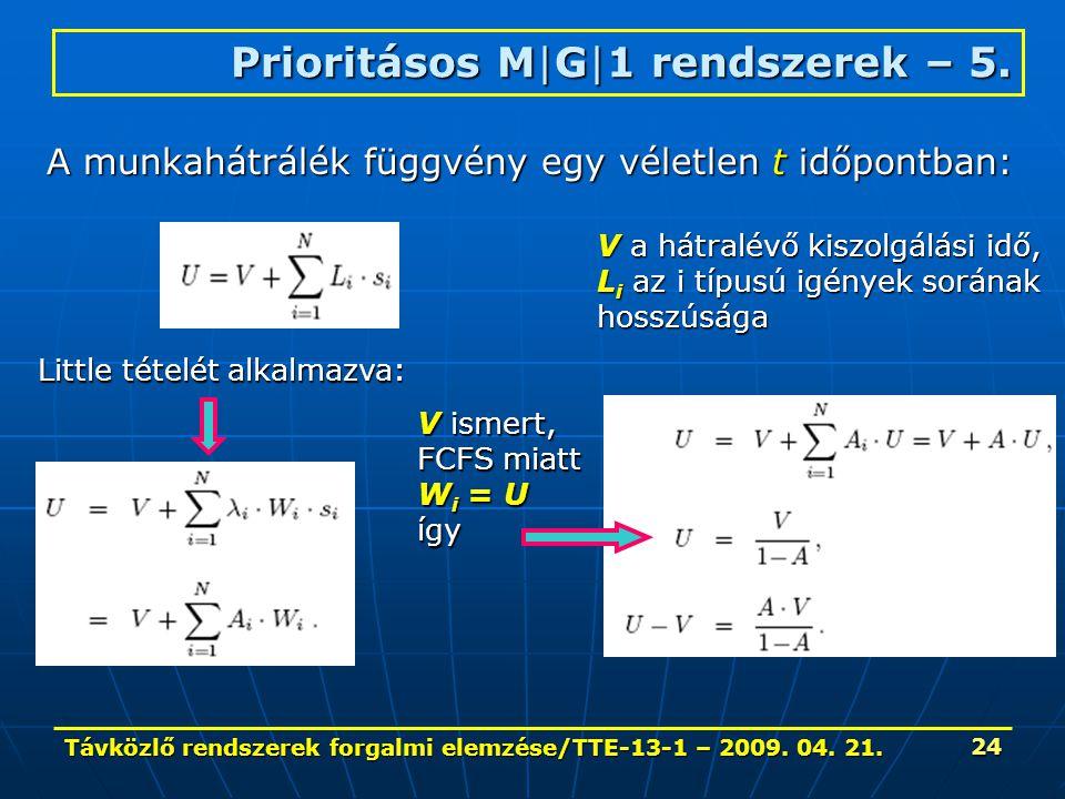 Távközlő rendszerek forgalmi elemzése/TTE-13-1 – 2009. 04. 21. 24 Prioritásos M|G|1 rendszerek – 5. A munkahátrálék függvény egy véletlen t időpontban