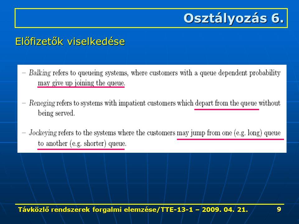 Távközlő rendszerek forgalmi elemzése/TTE-13-1 – 2009. 04. 21. 9 Osztályozás 6. Előfizetők viselkedése