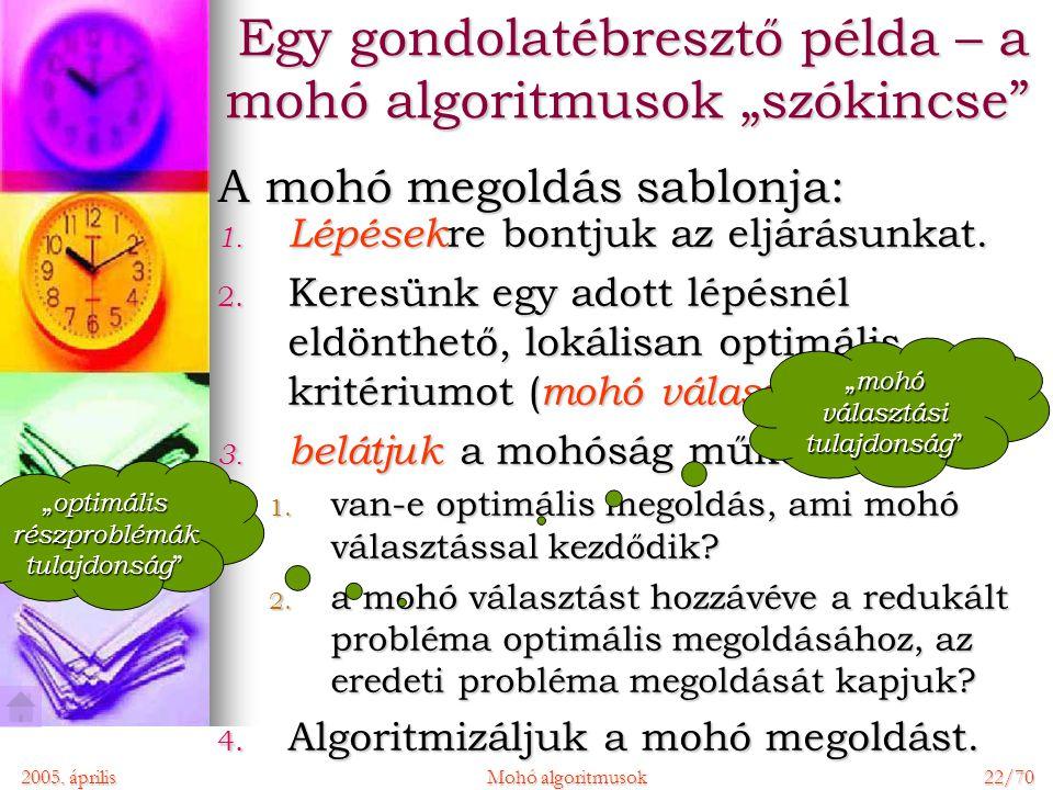 2005. áprilisMohó algoritmusok 22/70 1. Lépések re bontjuk az eljárásunkat.