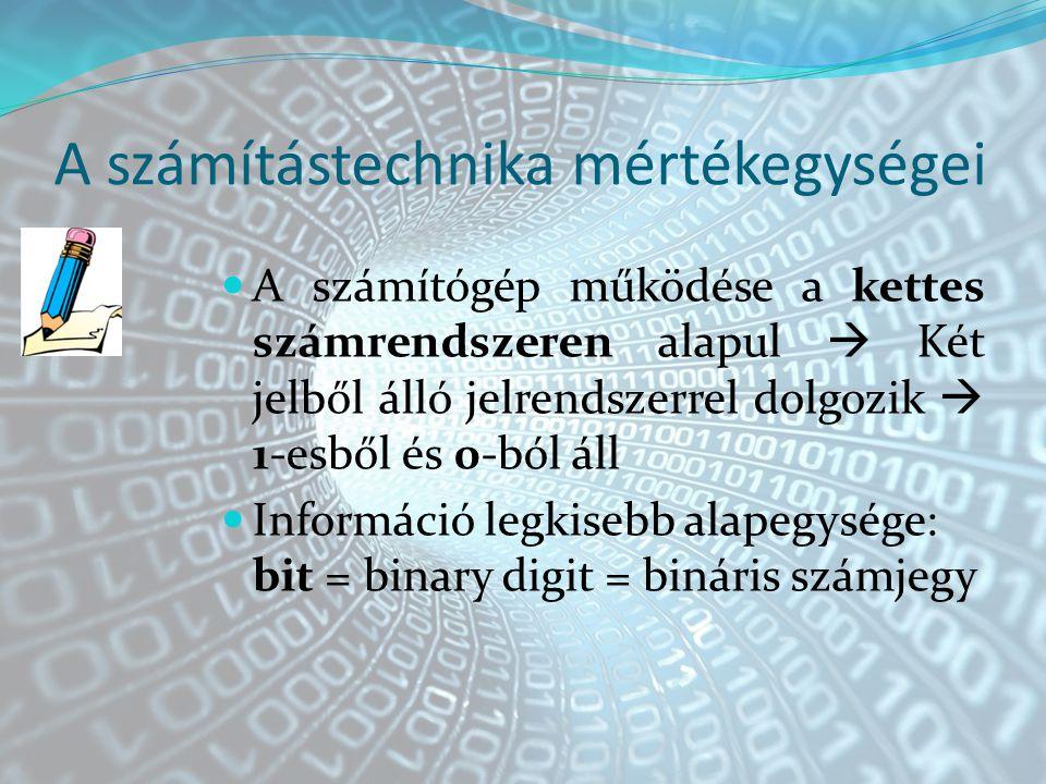 A számítástechnika mértékegységei A számítógép működése a kettes számrendszeren alapul  Két jelből álló jelrendszerrel dolgozik  1-esből és 0-ból áll Információ legkisebb alapegysége: bit = binary digit = bináris számjegy