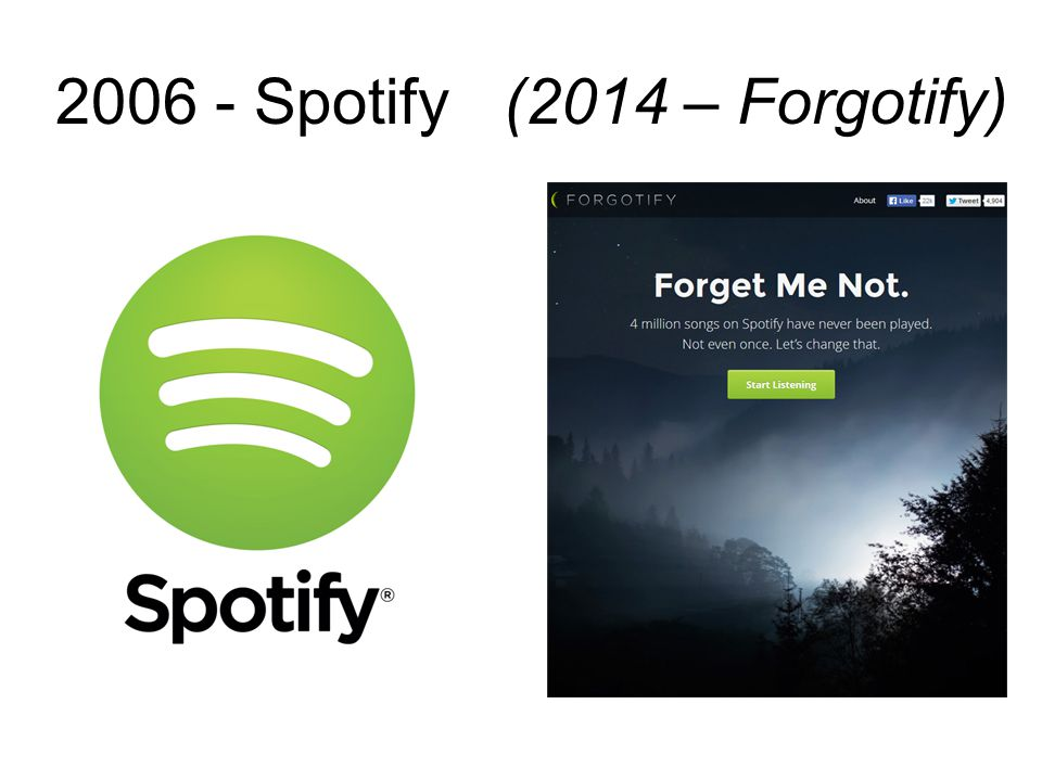 2006 - Spotify(2014 – Forgotify)