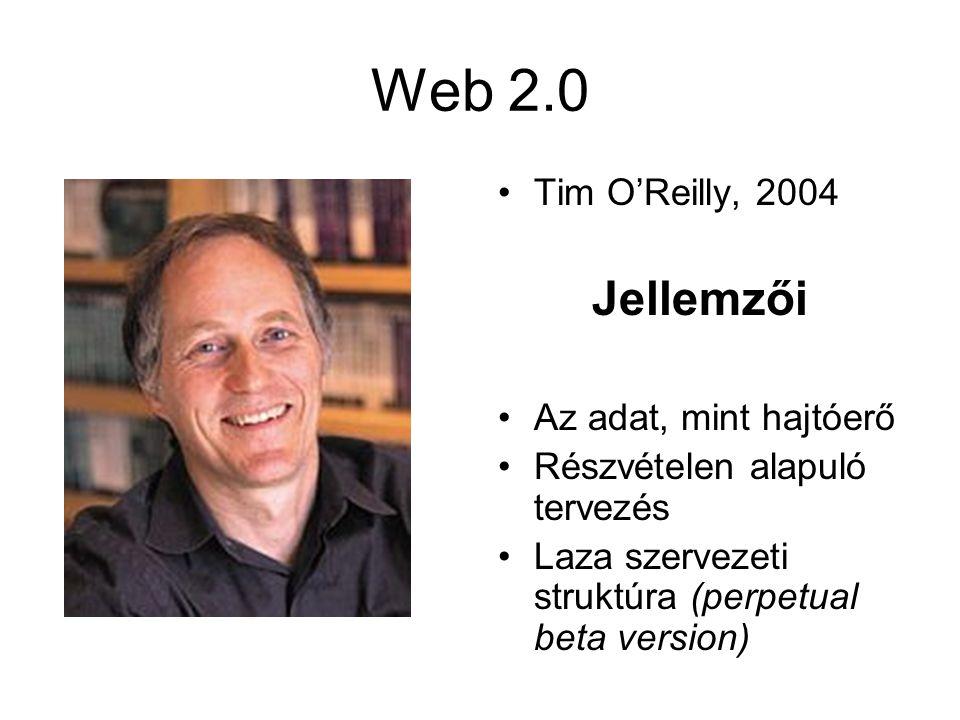 Web 2.0 Tim O'Reilly, 2004 Jellemzői Az adat, mint hajtóerő Részvételen alapuló tervezés Laza szervezeti struktúra (perpetual beta version)