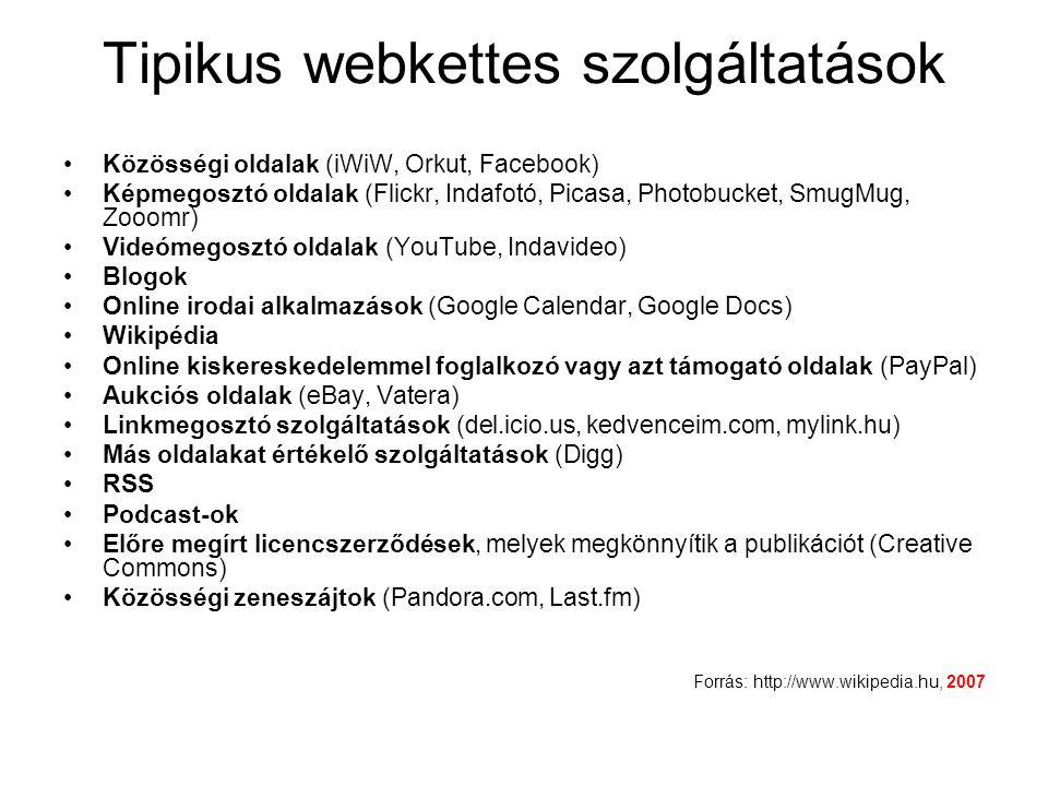 Tipikus webkettes szolgáltatások Közösségi oldalak (iWiW, Orkut, Facebook) Képmegosztó oldalak (Flickr, Indafotó, Picasa, Photobucket, SmugMug, Zooomr) Videómegosztó oldalak (YouTube, Indavideo) Blogok Online irodai alkalmazások (Google Calendar, Google Docs) Wikipédia Online kiskereskedelemmel foglalkozó vagy azt támogató oldalak (PayPal) Aukciós oldalak (eBay, Vatera) Linkmegosztó szolgáltatások (del.icio.us, kedvenceim.com, mylink.hu) Más oldalakat értékelő szolgáltatások (Digg) RSS Podcast-ok Előre megírt licencszerződések, melyek megkönnyítik a publikációt (Creative Commons) Közösségi zeneszájtok (Pandora.com, Last.fm) Forrás: http://www.wikipedia.hu, 2007