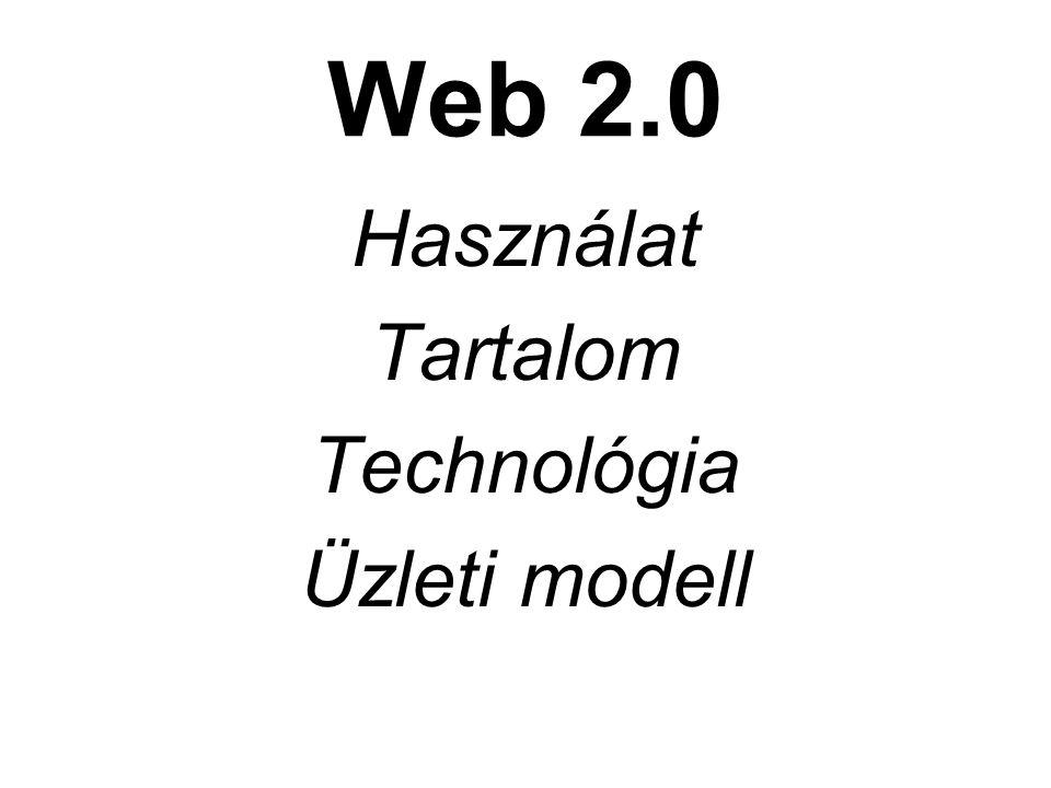 Web 2.0 Használat Tartalom Technológia Üzleti modell
