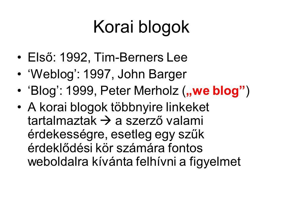 """Korai blogok Első: 1992, Tim-Berners Lee 'Weblog': 1997, John Barger 'Blog': 1999, Peter Merholz (""""we blog ) A korai blogok többnyire linkeket tartalmaztak  a szerző valami érdekességre, esetleg egy szűk érdeklődési kör számára fontos weboldalra kívánta felhívni a figyelmet"""