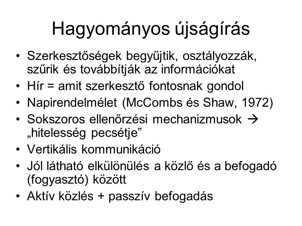 """Hagyományos újságírás Szerkesztőségek begyűjtik, osztályozzák, szűrik és továbbítják az információkat Hír = amit szerkesztő fontosnak gondol Napirendelmélet (McCombs és Shaw, 1972) Sokszoros ellenőrzési mechanizmusok  """"hitelesség pecsétje Vertikális kommunikáció Jól látható elkülönülés a közlő és a befogadó (fogyasztó) között Aktív közlés + passzív befogadás"""