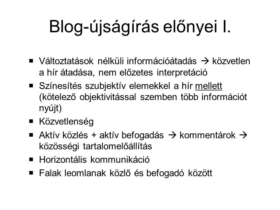 Blog-újságírás előnyei I.