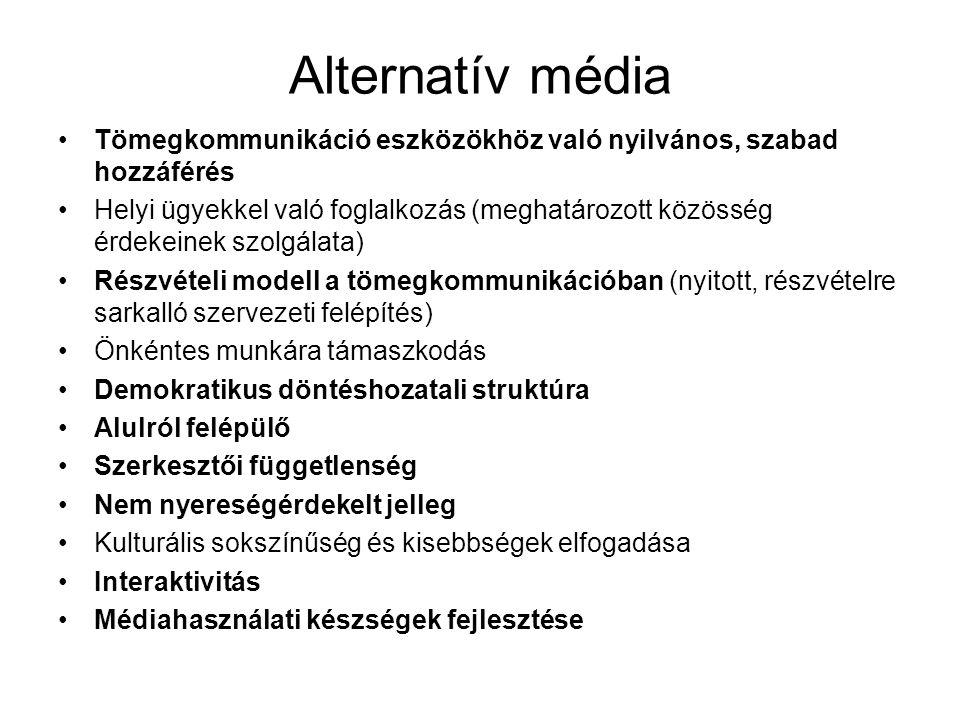 Alternatív média Tömegkommunikáció eszközökhöz való nyilvános, szabad hozzáférés Helyi ügyekkel való foglalkozás (meghatározott közösség érdekeinek szolgálata) Részvételi modell a tömegkommunikációban (nyitott, részvételre sarkalló szervezeti felépítés) Önkéntes munkára támaszkodás Demokratikus döntéshozatali struktúra Alulról felépülő Szerkesztői függetlenség Nem nyereségérdekelt jelleg Kulturális sokszínűség és kisebbségek elfogadása Interaktivitás Médiahasználati készségek fejlesztése