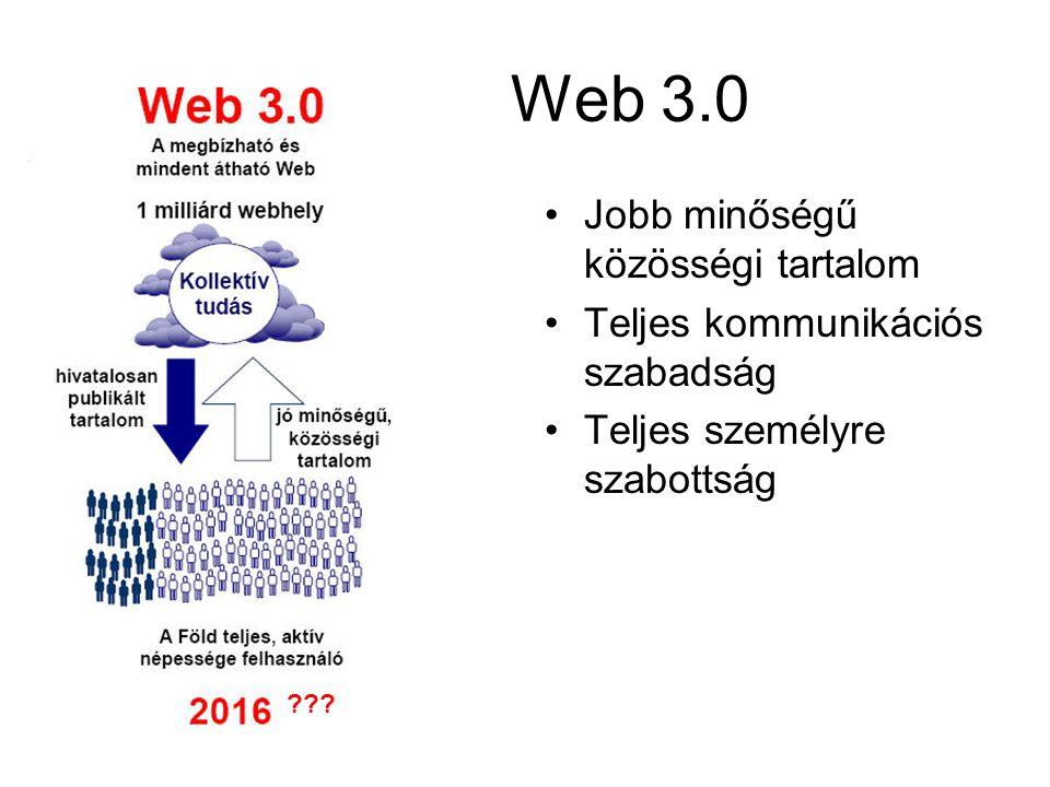 Web 3.0 Jobb minőségű közösségi tartalom Teljes kommunikációs szabadság Teljes személyre szabottság
