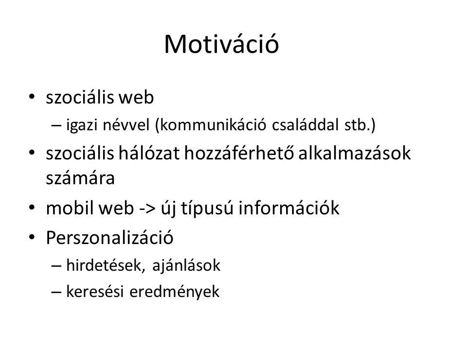 Motiváció szociális web – igazi névvel (kommunikáció családdal stb.) szociális hálózat hozzáférhető alkalmazások számára mobil web -> új típusú inform