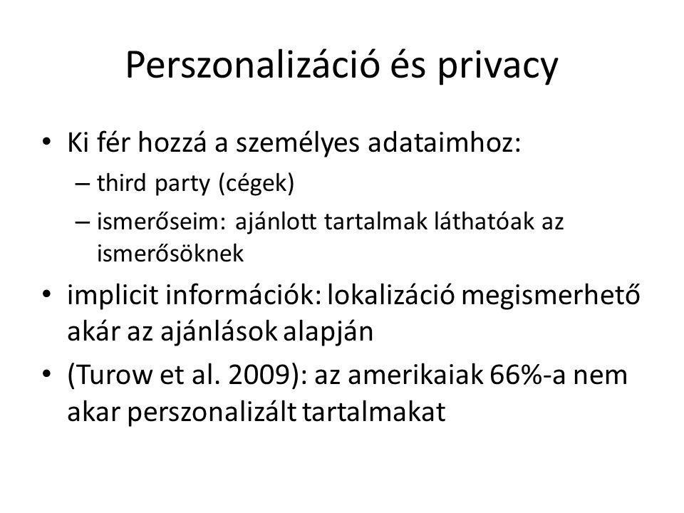 Perszonalizáció és privacy Ki fér hozzá a személyes adataimhoz: – third party (cégek) – ismerőseim: ajánlott tartalmak láthatóak az ismerősöknek impli