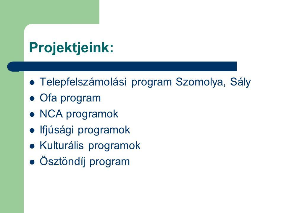 Projektjeink: Telepfelszámolási program Szomolya, Sály Ofa program NCA programok Ifjúsági programok Kulturális programok Ösztöndíj program