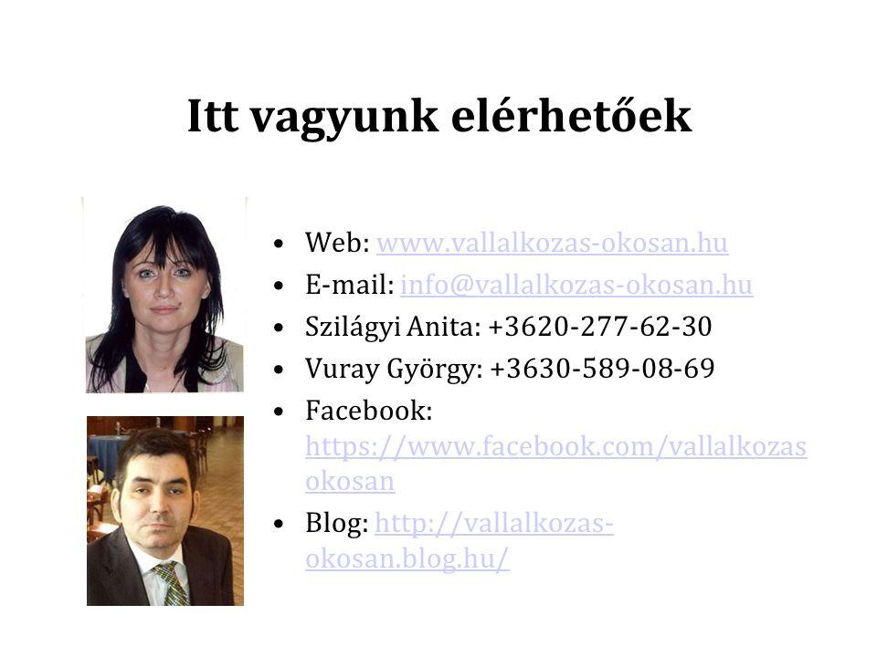 Itt vagyunk elérhetőek Web: www.vallalkozas-okosan.huwww.vallalkozas-okosan.hu E-mail: info@vallalkozas-okosan.huinfo@vallalkozas-okosan.hu Szilágyi Anita: +3620-277-62-30 Vuray György: +3630-589-08-69 Facebook: https://www.facebook.com/vallalkozas okosan https://www.facebook.com/vallalkozas okosan Blog: http://vallalkozas- okosan.blog.hu/http://vallalkozas- okosan.blog.hu/