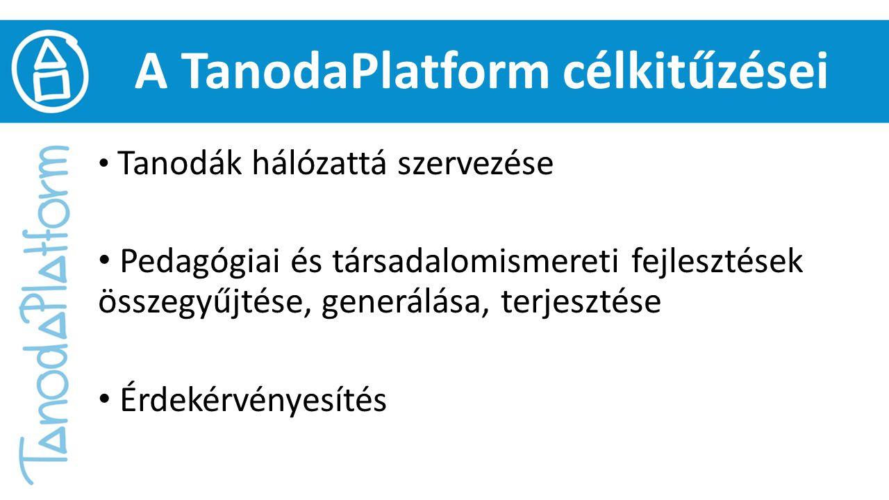 A TanodaPlatform célkitűzései Tanodák hálózattá szervezése Pedagógiai és társadalomismereti fejlesztések összegyűjtése, generálása, terjesztése Érdeké