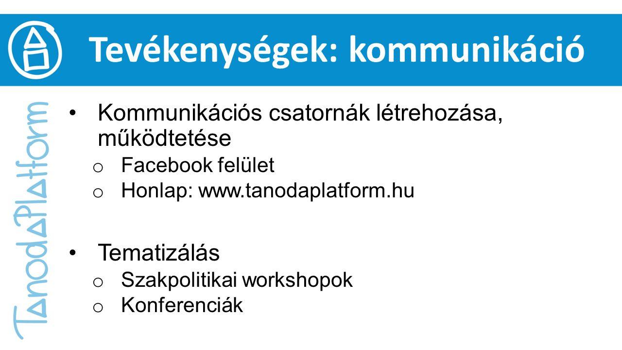 Tevékenységek: kommunikáció Kommunikációs csatornák létrehozása, működtetése o Facebook felület o Honlap: www.tanodaplatform.hu Tematizálás o Szakpoli