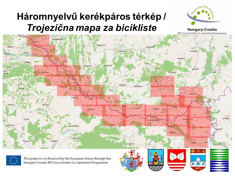 Háromnyelvű kerékpáros térkép / Trojezična mapa za bicikliste