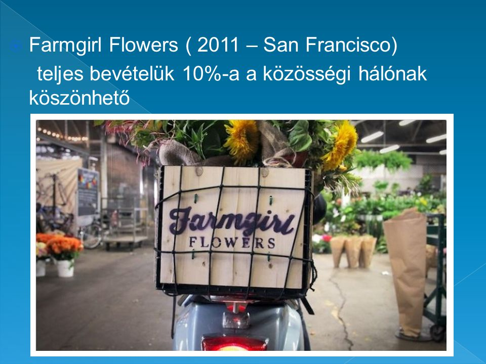  Farmgirl Flowers ( 2011 – San Francisco) teljes bevételük 10%-a a közösségi hálónak köszönhető