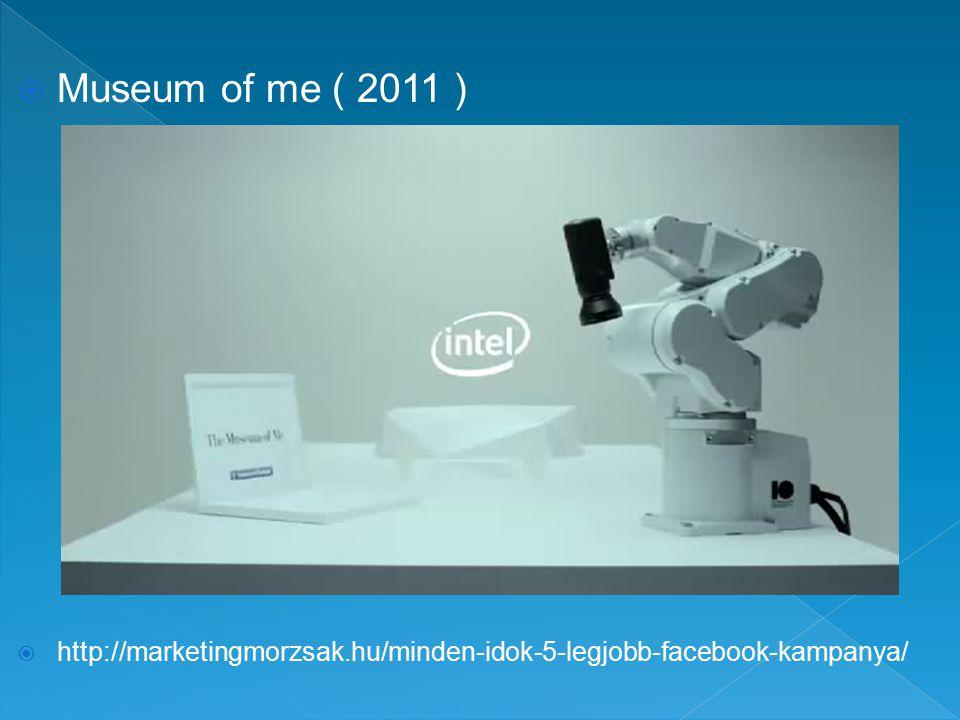  Museum of me ( 2011 )  http://marketingmorzsak.hu/minden-idok-5-legjobb-facebook-kampanya/