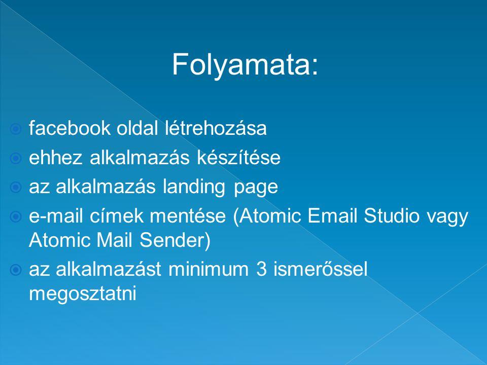 Folyamata:  facebook oldal létrehozása  ehhez alkalmazás készítése  az alkalmazás landing page  e-mail címek mentése (Atomic Email Studio vagy Atomic Mail Sender)  az alkalmazást minimum 3 ismerőssel megosztatni