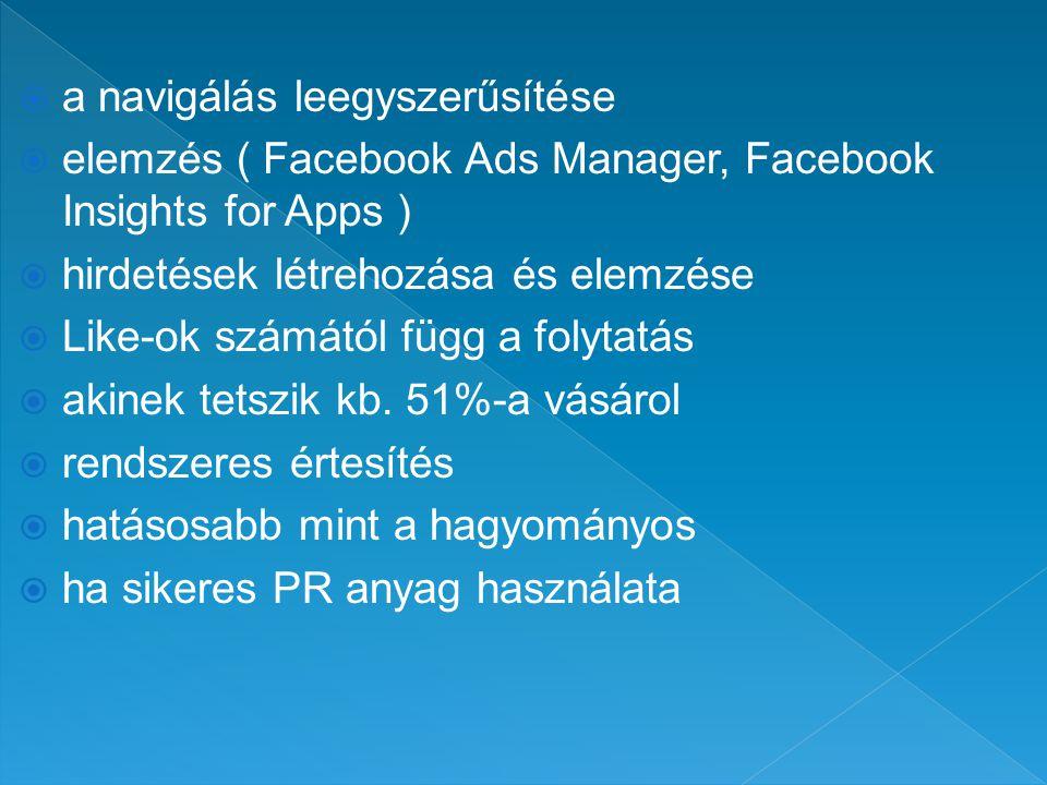  a navigálás leegyszerűsítése  elemzés ( Facebook Ads Manager, Facebook Insights for Apps )  hirdetések létrehozása és elemzése  Like-ok számától függ a folytatás  akinek tetszik kb.