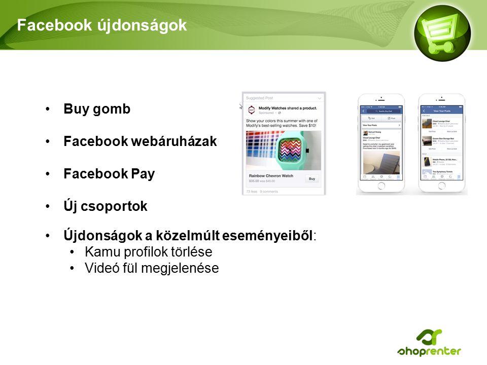 Facebook újdonságok Újdonságok a közelmúlt eseményeiből: Kamu profilok törlése Videó fül megjelenése Buy gomb Facebook webáruházak Facebook Pay Új csoportok
