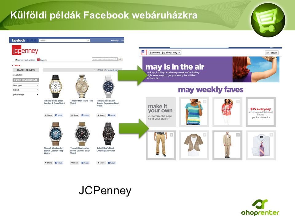 Külföldi példák Facebook webáruházkra JCPenney