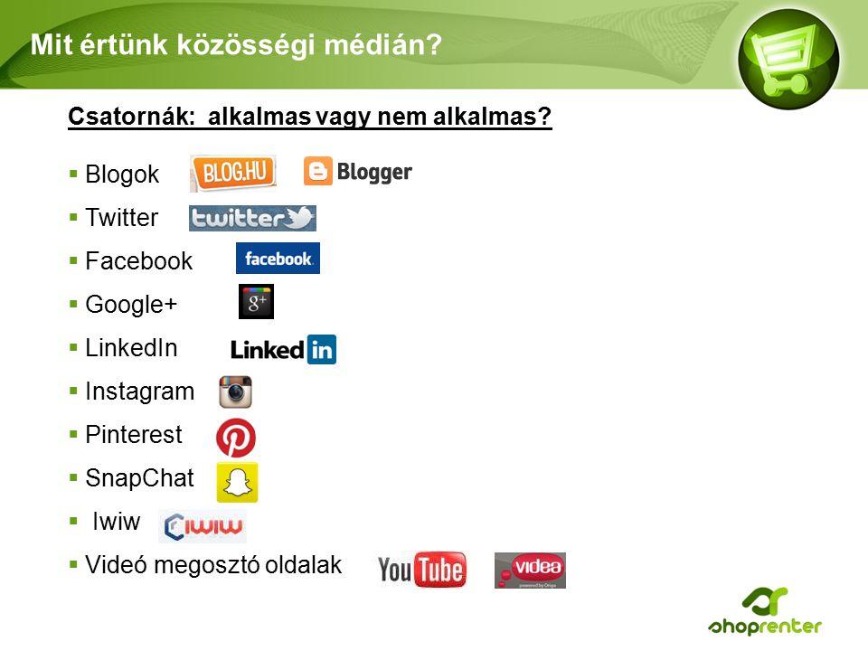 Mit értünk közösségi médián.Csatornák: alkalmas vagy nem alkalmas.