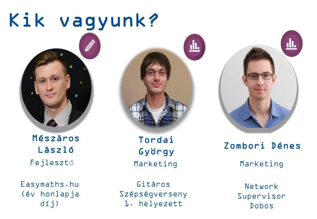 Mészáros László Fejlesztő Zombori Dénes Marketing Tordai György Marketing Kik vagyunk.