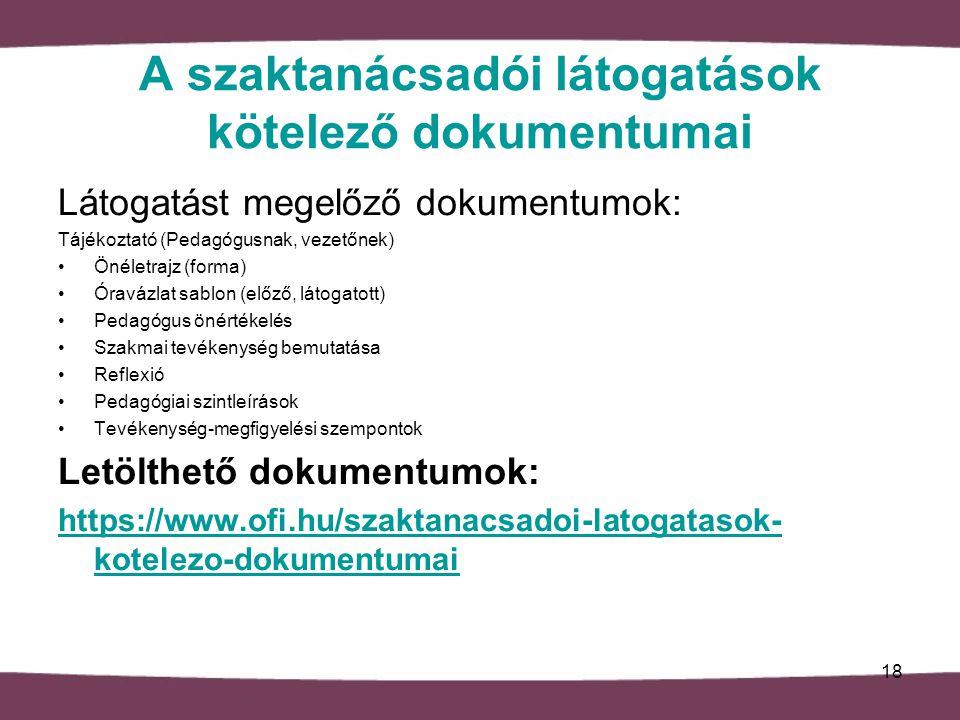 A szaktanácsadói látogatások kötelező dokumentumai Látogatást megelőző dokumentumok: Tájékoztató (Pedagógusnak, vezetőnek) Önéletrajz (forma) Óravázlat sablon (előző, látogatott) Pedagógus önértékelés Szakmai tevékenység bemutatása Reflexió Pedagógiai szintleírások Tevékenység-megfigyelési szempontok Letölthető dokumentumok: https://www.ofi.hu/szaktanacsadoi-latogatasok- kotelezo-dokumentumai 18