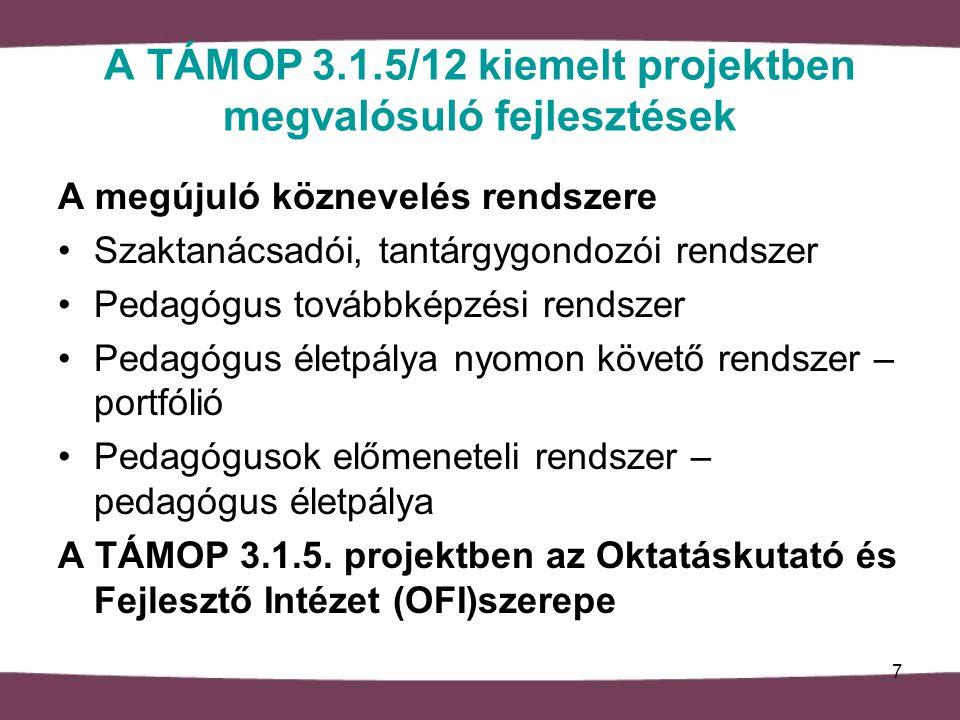 A TÁMOP 3.1.5/12 kiemelt projektben megvalósuló fejlesztések A megújuló köznevelés rendszere Szaktanácsadói, tantárgygondozói rendszer Pedagógus továbbképzési rendszer Pedagógus életpálya nyomon követő rendszer – portfólió Pedagógusok előmeneteli rendszer – pedagógus életpálya A TÁMOP 3.1.5.