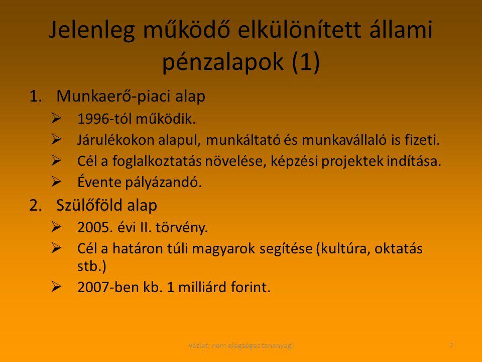 Vázlat; nem elégséges tananyag!7 Jelenleg működő elkülönített állami pénzalapok (1) 1.Munkaerő-piaci alap  1996-tól működik.  Járulékokon alapul, mu
