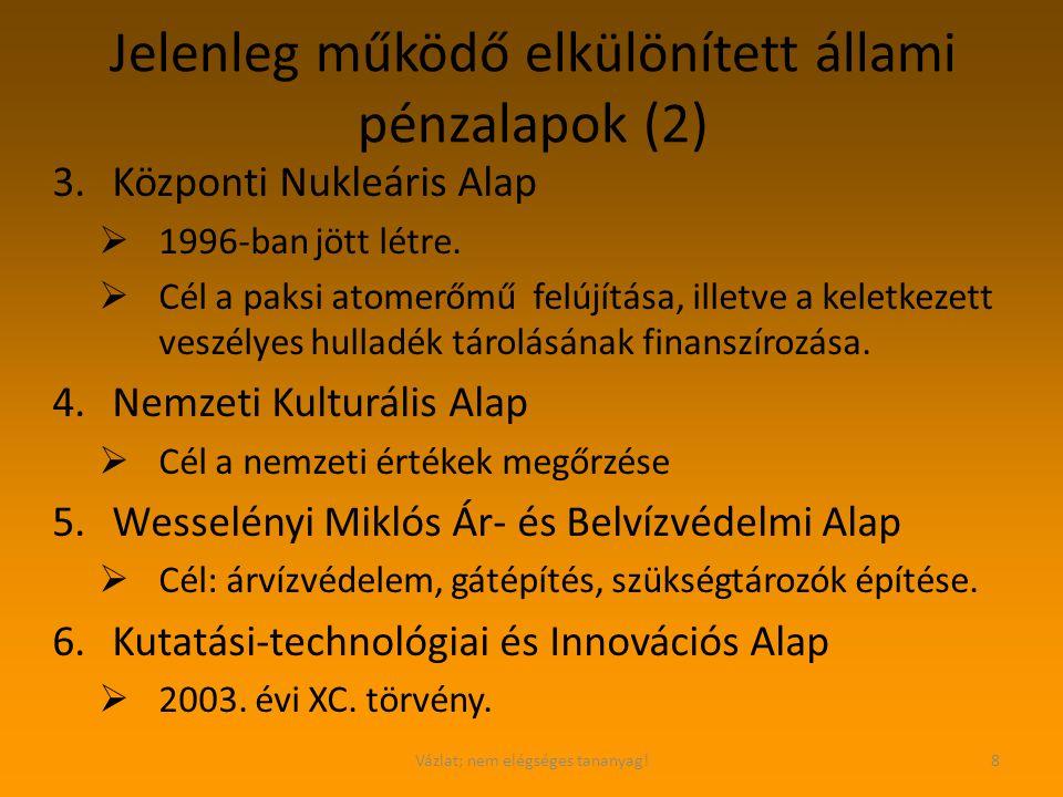 Vázlat; nem elégséges tananyag!8 Jelenleg működő elkülönített állami pénzalapok (2) 3.Központi Nukleáris Alap  1996-ban jött létre.  Cél a paksi ato
