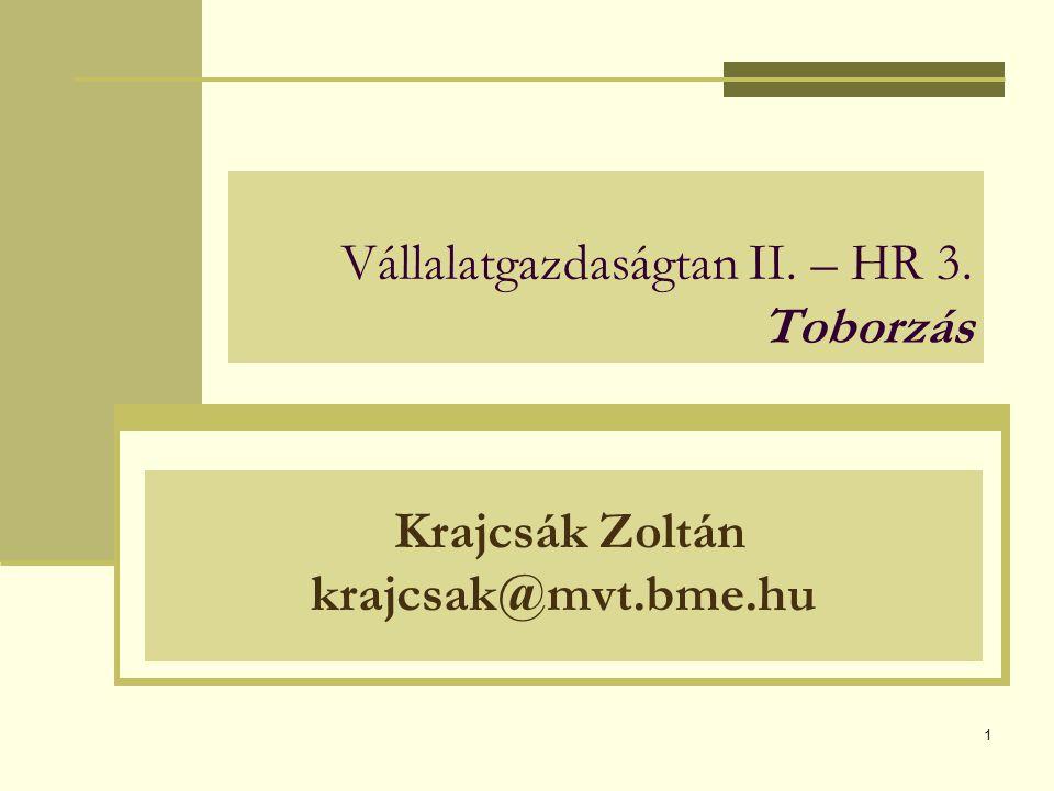 1 Vállalatgazdaságtan II. – HR 3. Toborzás Krajcsák Zoltán krajcsak@mvt.bme.hu