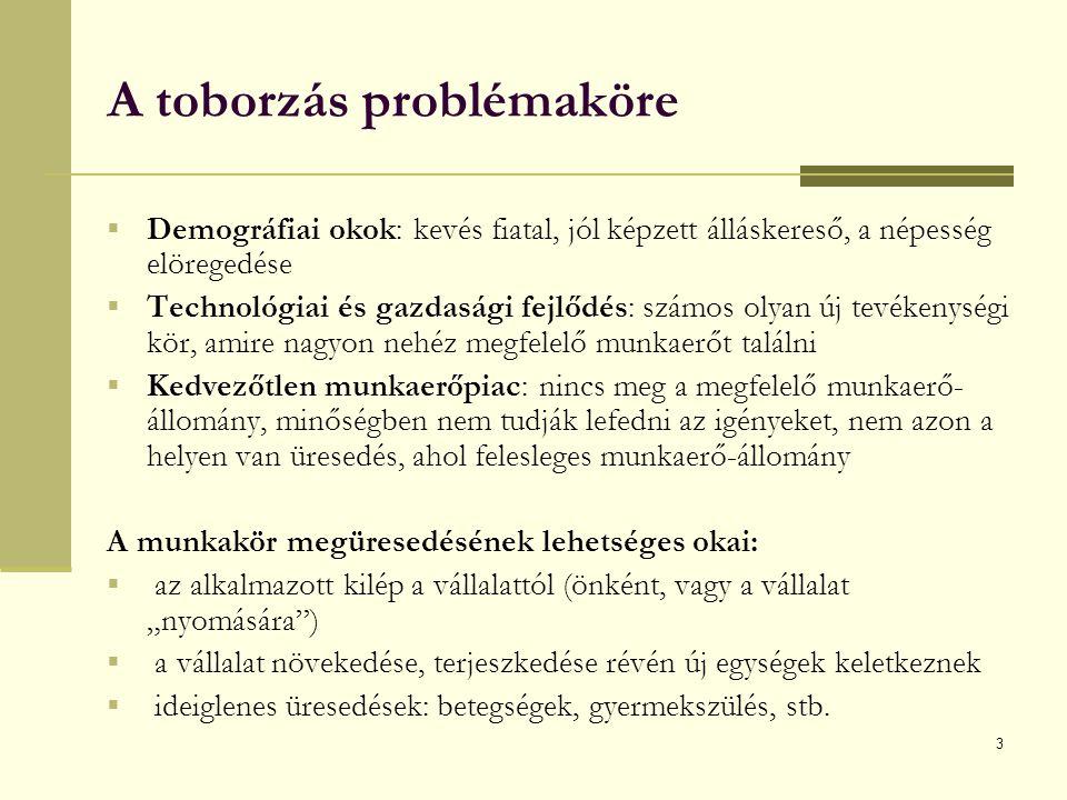 3 A toborzás problémaköre  Demográfiai okok: kevés fiatal, jól képzett álláskereső, a népesség elöregedése  Technológiai és gazdasági fejlődés: szám