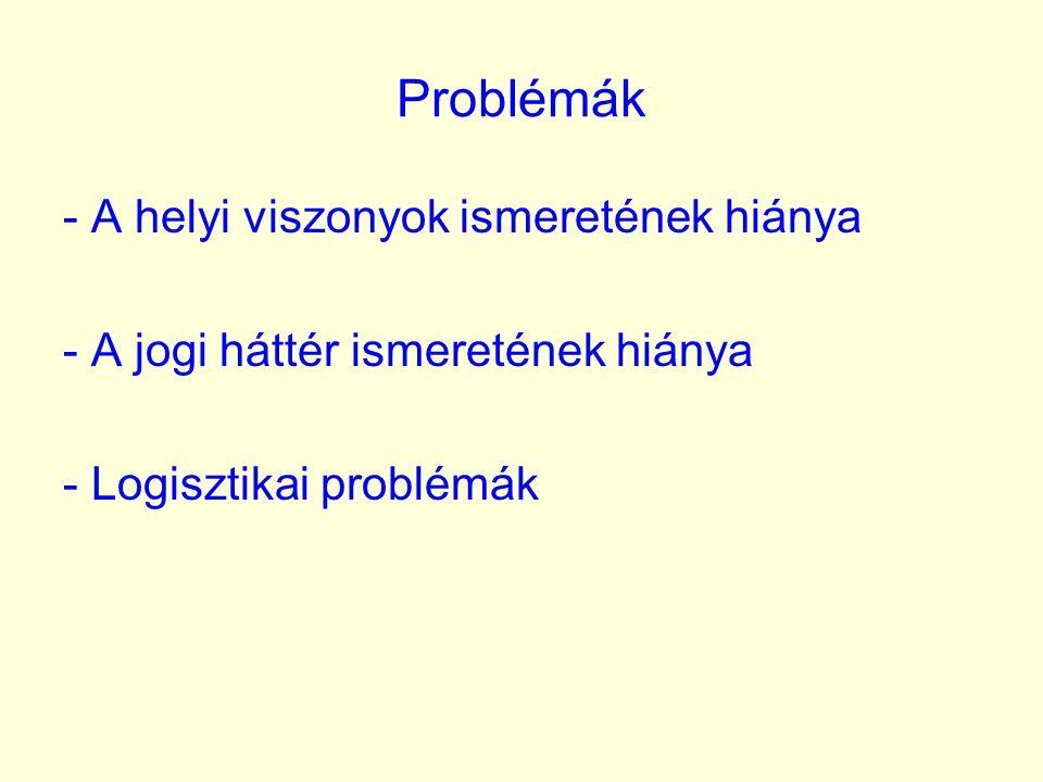 A problémák megoldásához szükséges: - A helyi viszonyokban járatos tanácsadók / jogászok - Megfelelő partner / alvállalkozó az anyagminták transzportjához