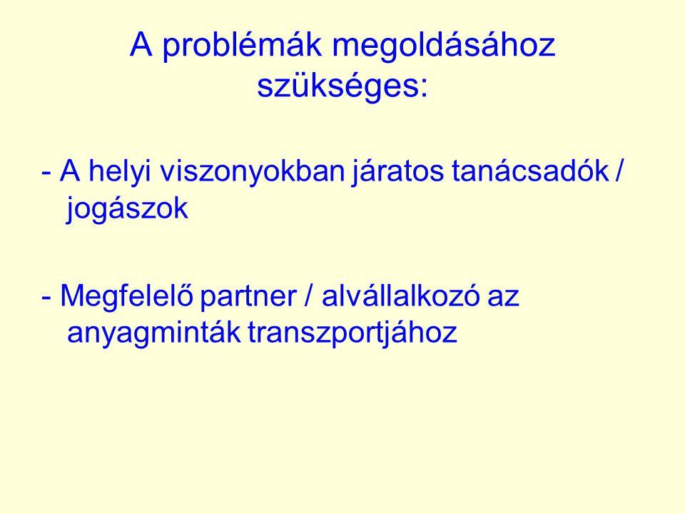 A problémák megoldásához szükséges: - A helyi viszonyokban járatos tanácsadók / jogászok - Megfelelő partner / alvállalkozó az anyagminták transzportj
