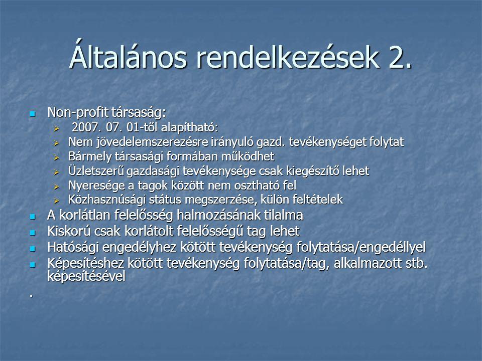 Általános rendelkezések 2. Non-profit társaság: Non-profit társaság:  2007. 07. 01-től alapítható:  Nem jövedelemszerezésre irányuló gazd. tevékenys