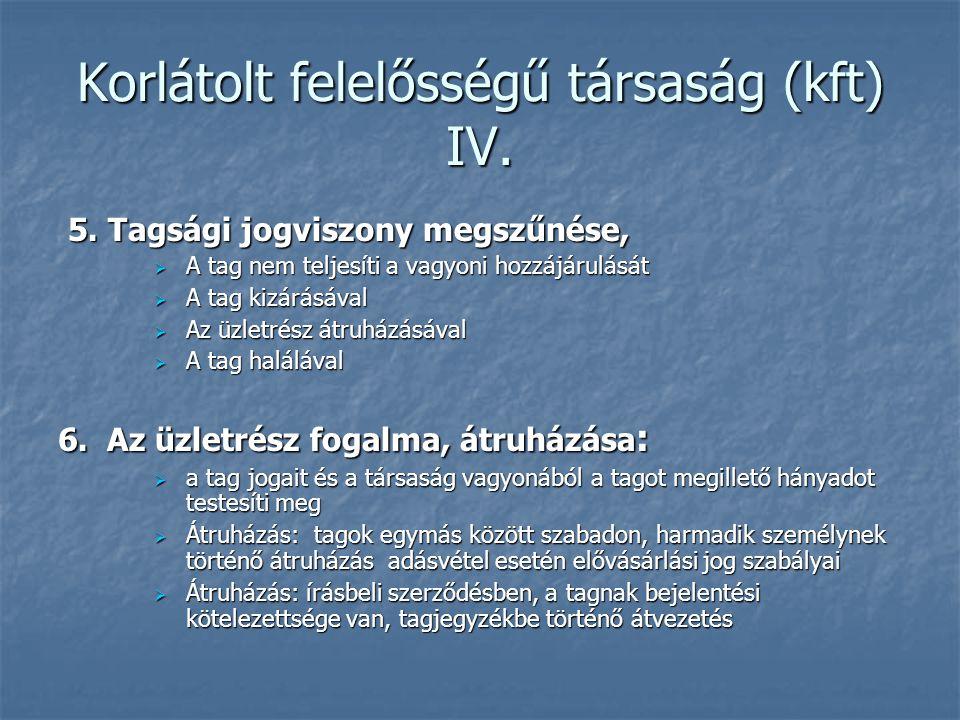 Korlátolt felelősségű társaság (kft) IV. 5. Tagsági jogviszony megszűnése, 5. Tagsági jogviszony megszűnése,  A tag nem teljesíti a vagyoni hozzájáru