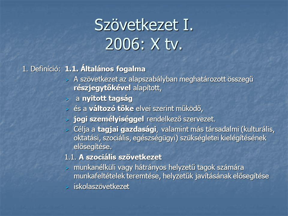Szövetkezet I. 2006: X tv. 1. Definíció: 1.1. Általános fogalma  A szövetkezet az alapszabályban meghatározott összegű részjegytőkével alapított,  a